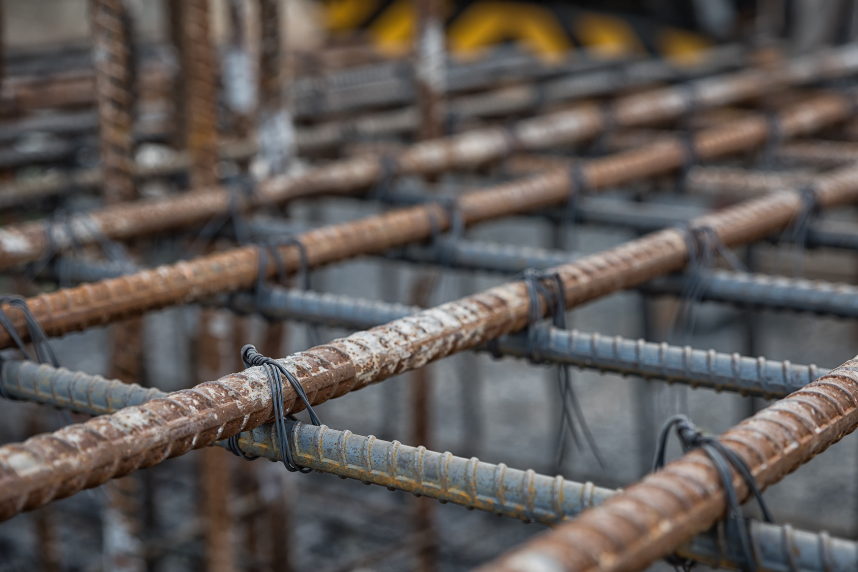 Selective focus steel tied at construction site